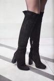 Κορίτσι στις υψηλές μαύρες μπότες, lookbook, υψηλές μπότες δέρματος γυναικών ` s Στοκ Φωτογραφίες