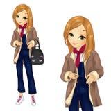 Κορίτσι στις φόρμες τζιν με το σακίδιο πλάτης απεικόνιση αποθεμάτων