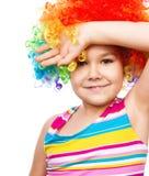 Κορίτσι στον κλόουν Στοκ Εικόνες