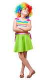 Κορίτσι στον κλόουν Στοκ Φωτογραφία