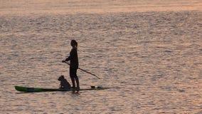 Κορίτσι στον πίνακα κουπιών στο χρόνο ηλιοβασιλέματος Στοκ Φωτογραφία