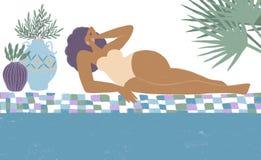 Κορίτσι στον παράδεισο Θετικό σώματος Θερινές διακοπές Όμορφη γυναίκα στην παραλία απεικόνιση αποθεμάτων