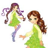 Κορίτσι στον πράσινο χορό φορεμάτων απεικόνιση αποθεμάτων
