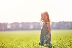 Κορίτσι στον τομέα στο ηλιόλουστο θερινό πρωί Στοκ εικόνα με δικαίωμα ελεύθερης χρήσης