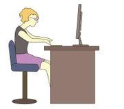 Κορίτσι στον υπολογιστή Στοκ Φωτογραφίες