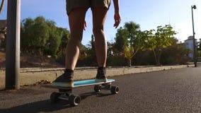 Κορίτσι στους σε αργή κίνηση γύρους skateboard στο πάρκο με τους φοίνικες φιλμ μικρού μήκους