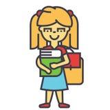 Κορίτσι στο αρχικό ή δημοτικό σχολείο με το βιβλίο και το σακίδιο πλάτης, σπουδαστής γυναικών, έννοια μελέτης ελεύθερη απεικόνιση δικαιώματος