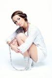 Κορίτσι στο λευκό Στοκ Εικόνα