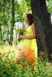 Κορίτσι στο κίτρινα φόρεμα και elecampane Στοκ εικόνα με δικαίωμα ελεύθερης χρήσης