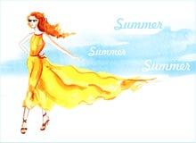 Κορίτσι στο κίτρινο φόρεμα υψηλό watercolor ποιοτικής ανίχνευσης ζωγραφικής διορθώσεων πλίθας photoshop πολύ Καλοκαίρι Στοκ φωτογραφίες με δικαίωμα ελεύθερης χρήσης