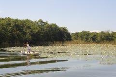 Κορίτσι στο κανό isla de las flores στον ποταμό Dulce Στοκ φωτογραφία με δικαίωμα ελεύθερης χρήσης