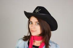 Κορίτσι στο καπέλο ενός σερίφη Στοκ Εικόνες