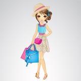 Κορίτσι στο καπέλο με τις τσάντες αγορών διανυσματική απεικόνιση