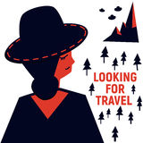 Κορίτσι στο καπέλο που ψάχνει το ταξίδι Στοκ Φωτογραφίες