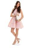 Κορίτσι στο κοντό φόρεμα σολομών Στοκ φωτογραφίες με δικαίωμα ελεύθερης χρήσης