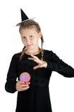Κορίτσι στο κοστούμι αποκριών που απομονώνεται στο άσπρο υπόβαθρο Στοκ Εικόνα