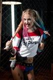 Κορίτσι στο κοστούμι Harley Στοκ εικόνα με δικαίωμα ελεύθερης χρήσης