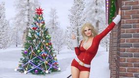 Κορίτσι στο κοστούμι Santa και το χριστουγεννιάτικο δέντρο cinemagraph 4K απεικόνιση αποθεμάτων