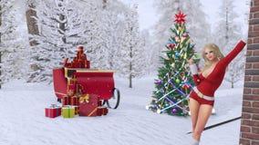 Κορίτσι στο κοστούμι Santa κοντά στο σπίτι που διακοσμείται για τα Χριστούγεννα διανυσματική απεικόνιση
