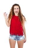 Κορίτσι στο κόκκινο επιθετικό πρόσωπο Στοκ φωτογραφία με δικαίωμα ελεύθερης χρήσης
