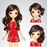 Κορίτσι στο κόκκινο φόρεμα και τη συλλογή Hairstyle απεικόνιση αποθεμάτων