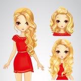 Κορίτσι στο κόκκινο φόρεμα και τη συλλογή Hairstyles απεικόνιση αποθεμάτων