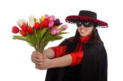 Κορίτσι στο μαύρο και κόκκινο κοστούμι καρναβαλιού που απομονώνεται επάνω Στοκ φωτογραφία με δικαίωμα ελεύθερης χρήσης