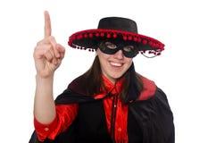 Κορίτσι στο μαύρο και κόκκινο κοστούμι καρναβαλιού που απομονώνεται επάνω Στοκ Εικόνα