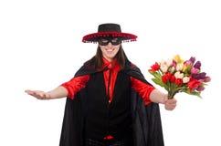 Κορίτσι στο μαύρο και κόκκινο κοστούμι καρναβαλιού που απομονώνεται επάνω Στοκ Εικόνες