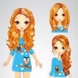Κορίτσι στο μπλε φόρεμα και τη συλλογή Hairstyles διανυσματική απεικόνιση
