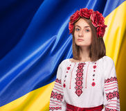 Κορίτσι στο ουκρανικό εθνικό κοστούμι Στοκ Εικόνες
