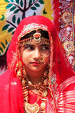 Κορίτσι στο παραδοσιακό φόρεμα που συμμετέχει στο φεστιβάλ ερήμων, Jaisal Στοκ Εικόνες