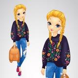 Κορίτσι στο πουλόβερ με τα λουλούδια ελεύθερη απεικόνιση δικαιώματος