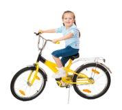 Κορίτσι στο ποδήλατο που απομονώνεται Στοκ εικόνες με δικαίωμα ελεύθερης χρήσης