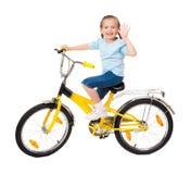 Κορίτσι στο ποδήλατο που απομονώνεται Στοκ φωτογραφία με δικαίωμα ελεύθερης χρήσης
