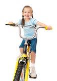 Κορίτσι στο ποδήλατο που απομονώνεται Στοκ εικόνα με δικαίωμα ελεύθερης χρήσης