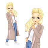 Κορίτσι στο πολύ μπεζ παλτό διανυσματική απεικόνιση