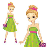Κορίτσι στο πράσινο φόρεμα τυπωμένων υλών καρδιών απεικόνιση αποθεμάτων