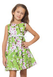 Κορίτσι στο πράσινο φόρεμα Στοκ Φωτογραφίες