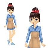 Κορίτσι στο ριγωτούς μπλε πουκάμισο και τον κορσέ απεικόνιση αποθεμάτων