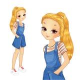 Κορίτσι στο ριγωτό φόρεμα πουκάμισων και τζιν διανυσματική απεικόνιση