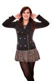 Κορίτσι στο σακάκι και τη μίνι φούστα στοκ εικόνες