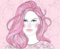 Κορίτσι στο υπόβαθρο φραουλών Στοκ Εικόνες