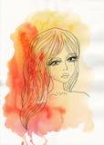 Κορίτσι στο υπόβαθρο watercolor στοκ εικόνες με δικαίωμα ελεύθερης χρήσης