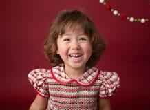 Κορίτσι στο φόρεμα Χριστουγέννων, εξάρτηση Μόδα διακοπών στοκ εικόνα