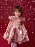 Κορίτσι στο φόρεμα Χριστουγέννων, εξάρτηση Μόδα διακοπών στοκ εικόνες