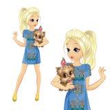 Κορίτσι στο χαριτωμένο σκυλί λαβής φορεμάτων τζιν διανυσματική απεικόνιση