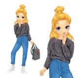 Κορίτσι στο χνουδωτά πουλόβερ και το τζιν παντελόνι ελεύθερη απεικόνιση δικαιώματος