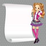 Κορίτσι στο ύφος Emo με το έμβλημα ελεύθερη απεικόνιση δικαιώματος