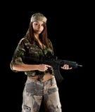 κορίτσι στρατού στρατιωτικό Στοκ Φωτογραφίες